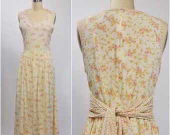 Cream Floral Tie Back Dress | 1980s Vintage Rayon Dress by Erika | Size Small