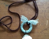 Baby blue lace leather necklace