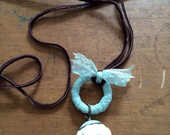 SALE REDUCED Baby blue lace leather necklace