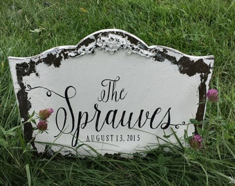 CUSTOM NAME SIGN, Personalized Sign, Wedding Sign, Family Name Sign, Shabby Chic Sign, Distressed Sign, Rustic Wedding Decor