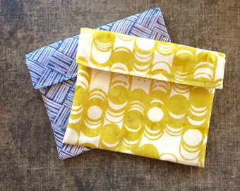 Snack Bag - Sandwich Bag - Batik Geometric Blue and Mustard