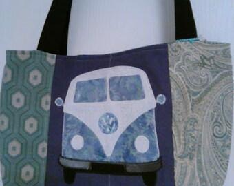 Rosa's Tote-VW Camper Van in Blue & Purple