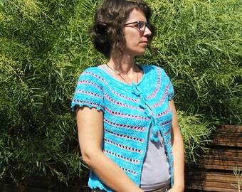 Amour bleu corail - Crochet PATTERN for womens cardigan - Pdf format, size XS to XL