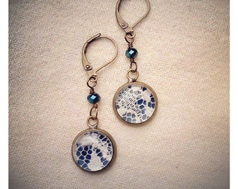 Navy Blue and Ivory Lace dangle earrings for bridesmaids, gifts, holidays