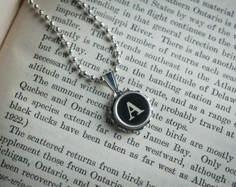Vintage TYPEWRITER Key NECKLACE Initial Letter A Black or Light Symbol You Choose Retro Fun