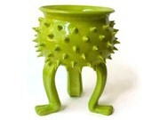 Neon Green Ceramic Grouchy Pot with Spikes - Planter Pot