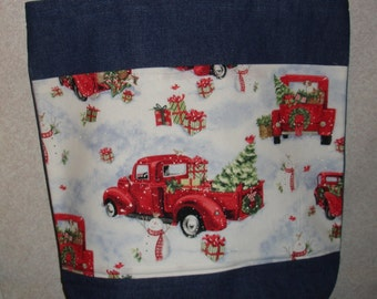New Large Handmade Christmas Country Classic Americana Truck Holiday Denim Tote Bag