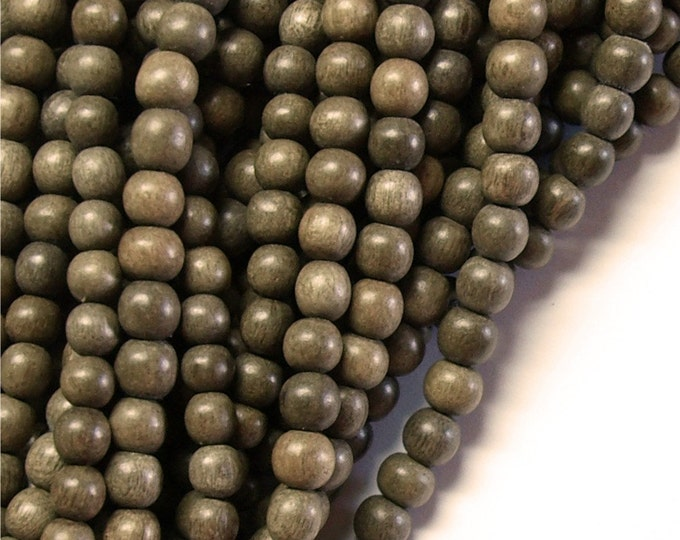 Wood Bead, Round 6mm, Graywood - Five 16 Inch Strands (WDRD-06GR)