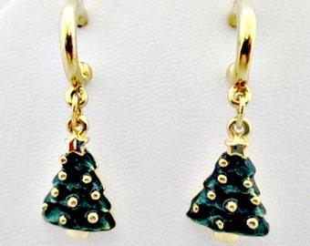 Christmas Tree Dangle Pierced Earrings - Vintage Holiday Jewelry