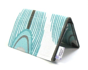 Mini Wallet / Card Holder / Business Card Holder / Card Case / Gift Card Holder/ Small Wallet - Aqua Peacock