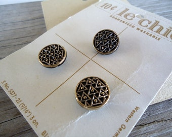 "Antique Jet Glass Buttons On Cards New old Stock Western Germany le chic 9/16"" gold painted MINT vintage buttons vintage glass buttons"