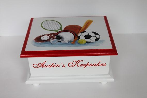 Baby keepsake box baby memory box for boy sports theme hand like this item negle Choice Image