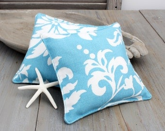 Turquoise Hawaiian Floral Sachets, Beach Cottage Chic