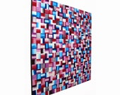 Large Wall Art ORIGINAL Modern Abstract Painting On Wood Panel 30x30 Blue Purple And Red Artwork Acrylic Squares Contemporary Decor