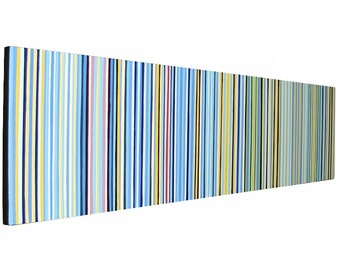 Mid Century Modern Wall Art ORIGINAL Acrylic Painting Blue and Yellow Stripes Large Wall Art 48x12 Long Four Feet Wide Painting