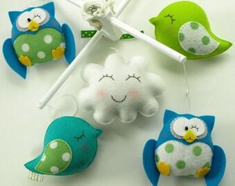 Musical Mobile Friendly Owls and Birds, Hanging Baby Crib Mobile for Modern Baby Nursery Decor, Kids Playroom decor, Owl Bird Theme Room