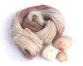 Handdyed laceweight yarn, BFL silk lace hand dyed yarn, Perran Yarns She Sells Seashells, neutral bluefaced leicester wool skein, uk seller