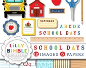 40% off Back to School clipart education, scissors, apple, pencil, ruler, digital papers INSTANT DOWNLOAD School Days