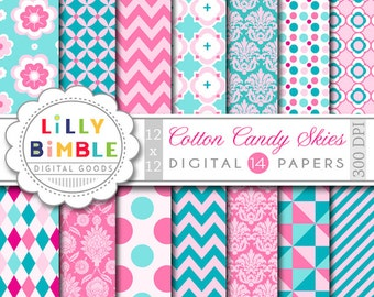 40% off Pink and Turquoise digital scrapbook papers with damask, quatrefoil, stripes, polka dots. Instant Download Cotton Candy