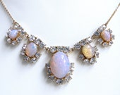 Vintage Fire Opal Necklace. Crystal rhinestones, Faux Opal. 30's to 50's