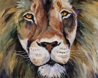 Lion Wild Animal Wildlife Framed Original Oil Painting by California Artist Debra Alouise