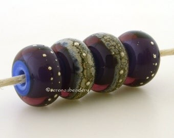 Amethyst Purple Silver REGAL PURPLE Granite Heart Handmade Lampwork Glass Bead Set - taneres