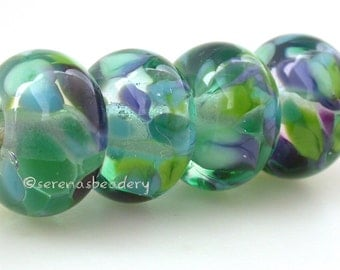 Lampwork Glass Bead Set JUNGLE GEM - TANERES sra blue green purple - glossy or matte