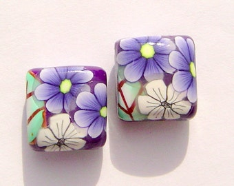 Purple Daisy White Handmade Artisan Polymer Clay Bead Pair
