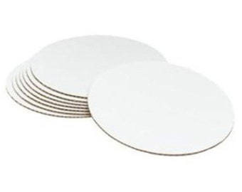 "8"" Cake Boards 100 Count White Singe Wall Corrugated Cardboard."