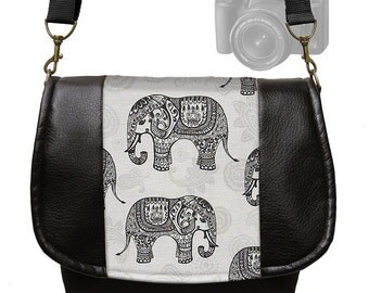 Black Vegan Leather Dslr Camera Case Padded Messenger Style Digital Camera Bag Purse Elephant paisley gray  zipper pocket  RTS