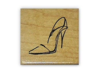 Shoe sketch, ladies pump mounted rubber stamp, high heels, stiletto heels, Sweet Grass Stamps No.5