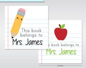 Bookplate Stickers 20 Square Stickers Teacher Gift - End of the School Year - Book Stickers - Personalized Bookplate Stickers for Teachers