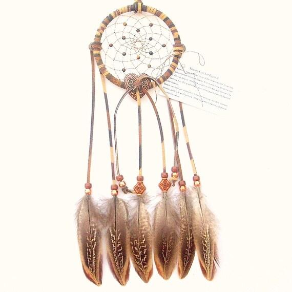 tie dye earthtones dream catcher cock pheasant feathers. Black Bedroom Furniture Sets. Home Design Ideas