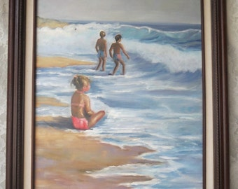 "Vintage Acrylic Original Painting At the Beach Seascape with Boys & Girl Ocean Waves Crashing Framed 16 x 20"" Artist Signed Canvas Fine Art"
