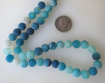 Aqua Blue Frosted Agate Round Beads 8mm Half Strand
