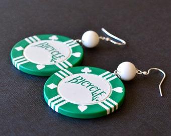 Aces Wild, Poker Chip Green and White Earrings, Retro Casino Earrings, Las Vegas Style Earrings, Poker Earrings
