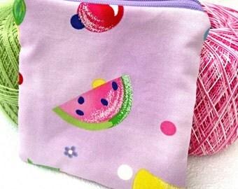 Fruit salad square zipper pouch