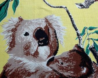Vintage Kitsch Tea Towel - Koala Bears on a Lemon Yellow Background