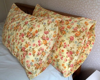 Vintage Pair of Pillowcases - Pink, Orange and Blue Flowers on a Lemon Yellow background