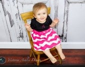 INITAIL One Piece..hot pink chevron DRESS... Girls clothing- hot pink and black