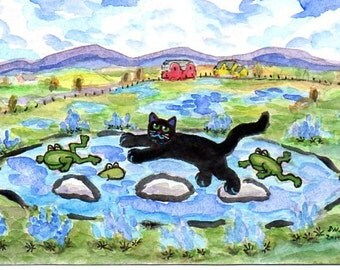 ORIGINAL ART, Black Cat and Bluebonnets by Texas Toady Frog Pond, by D M Laughlin