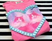 Bright Pink Kitties T Shirt Mens Medium