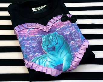 Black and Neon Blue Tiger T Shirt Mens Small