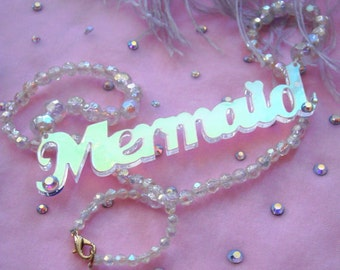 Radiant Acrylic MERMAID Beaded Necklace