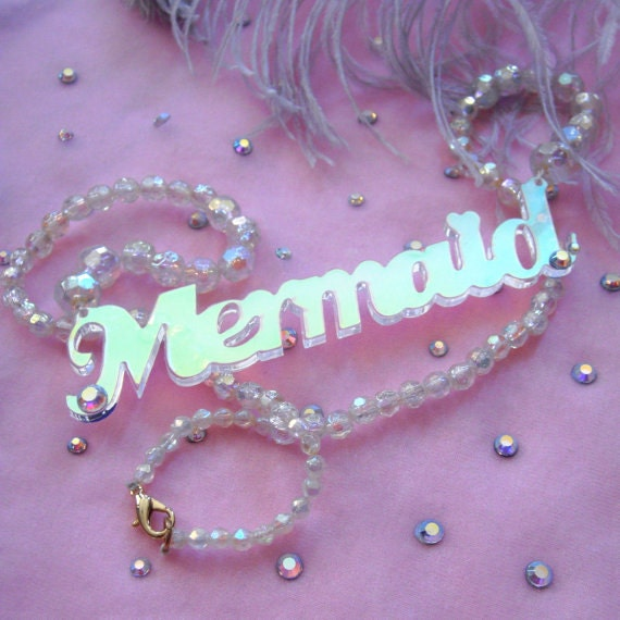 Radiant acrylic mermaid beaded necklace for Radiant plexiglass