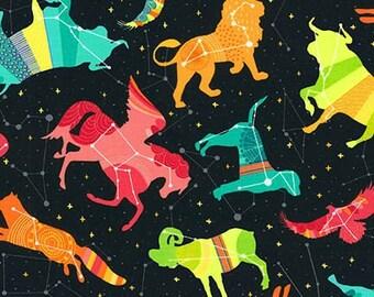 Night Sky Black Celestial Animals  Cotton Fabric Robert Kaufman  - 1 Yard