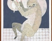 "Hand Painted Test Prints 12-14  ""Lucky"" - Sloth and Maneki Neko"