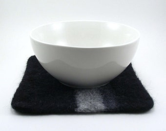 Felted wool trivet - felted hot pad - striped trivet - black, gray and charcoal