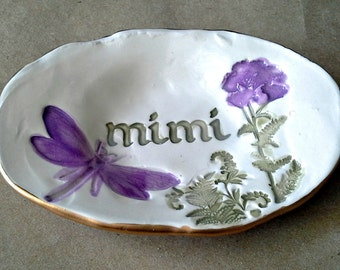 Ceramic MIMI Trinket Ring Bowl  edged in gold Mothers Day Gift