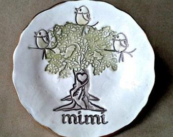 MIMI Family Tree with 3 Birdies Ceramic  Trinket Bowl  Mothers day